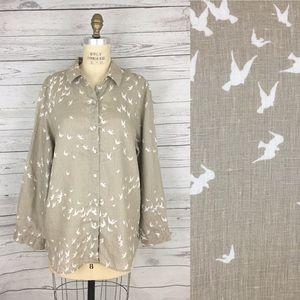 J. Jill linen button front bird sparrow top